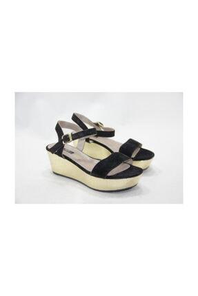 Kadın Hakiki Deri  Siyah Dolgu Topuklu Ayakkabı i1161