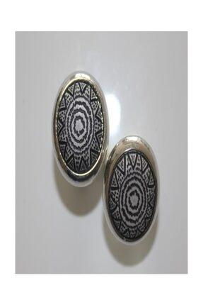 Siyah Beyaz Güneş Desenli Siyah-beyaz-gümüş Renkli Lüx Kol Düğmesi 20016
