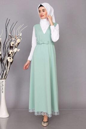 Kadın Mint Yeşili Etek Ucu Dantelli Jile Elbise 3838-Mint Yeşili