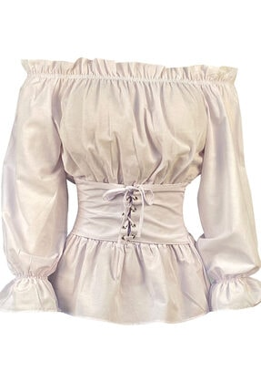 Kadın Beyaz Açık Omuz Korseli Pamuklu Bluz TNK.20.16.00001