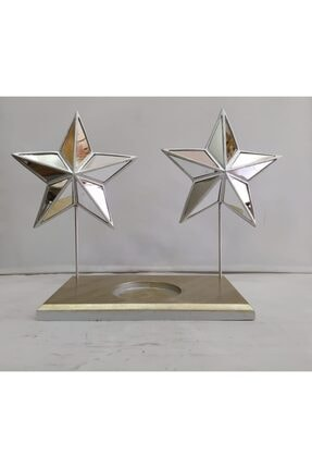 Polyester Dekoratif Yıldız Mumluk Obje ( Gümüş Renk ) 08765