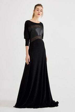 Deri Garneli Jarse Uzun Elbise 202004