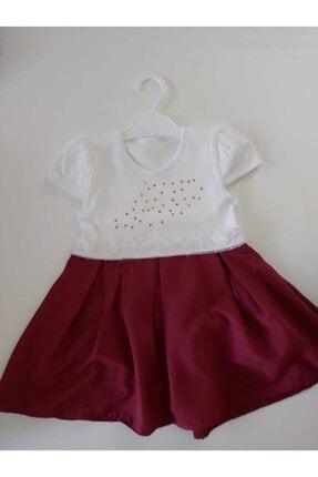 Kız Çocuk Beyaz & Bordo Detaylı Polyester Elbise BORDO14025410