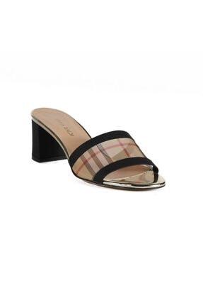 Caddy Sıyah / Bej File Kadın Topuklu Terlik 169 71-R1089