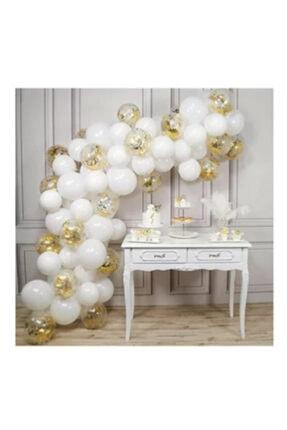 Beyaz Gold Konfetili Balon Zincir Seti KZP236