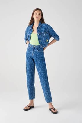 Kadın Mavi Mavi Smiley Desenli Slouchy Jean 05682331