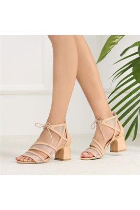 Vilsoni Ten Rengi Tüllü Kalın Topuklu Kadın Ayakkabı TX5C6823FC13985