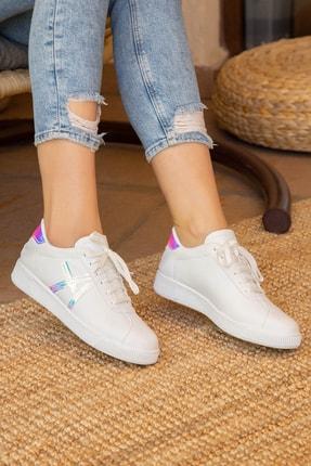 Beyaz-Mavi Kadın Sneaker BM-4000-20-101015