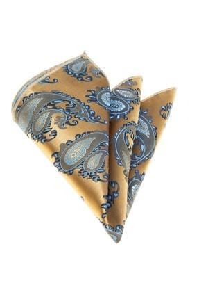Altın Mavi Şal Desenli Dokuma Yaka Mendil CM2204