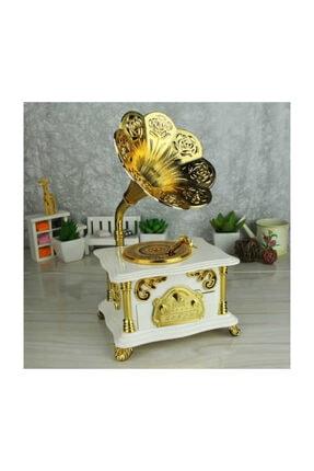 Gramofon Müzik Kutusu Beyaz Renk Gramafon Müzik Kutusu Çekmeceli gramofon