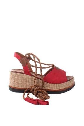 Punco Dolgu Topuklu Kadın Sandalet Süet PT-ST0126