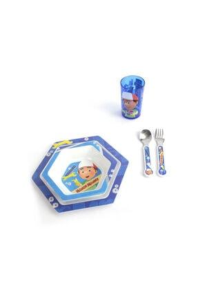Çocuk Yemek Takımı Seti Tabak Kase Bardak Çatal Kaşık Disney Tamirci Çocuk SET04