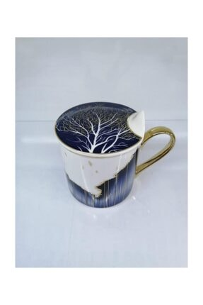 Ağaç Desen Porselen Kapaklı Kupa Bluedream-150 BLUEDREAM-150