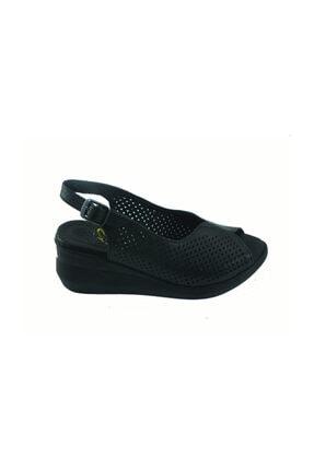Kadın Siyah Dolgu Topuklu Deri Sandalet 706-10 8000225