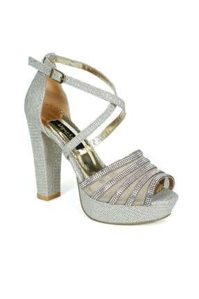 Platform Ve Taşlı Gold Topuklu Ayakkabı LP-Platform-100