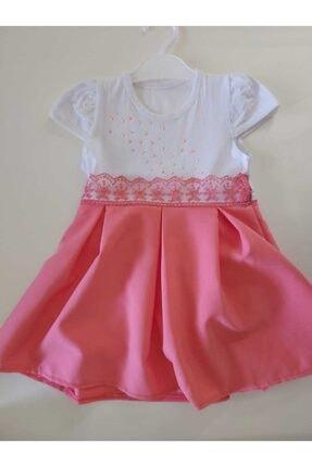 Kız Çocuk Beyaz & Pembe Detaylı Polyester Elbise BEYAZZ021405870