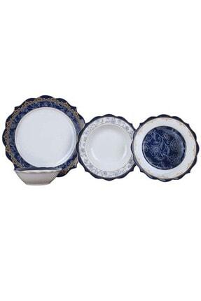 24 Parça Yemek Takımı Porselen Mavi TR-1814 PINK MORE 24 PRC YEMEK TAKIMI