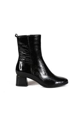Milica Siyah Rugan Fermuarlı Kadın Topuklu Bot 8708 11-R978