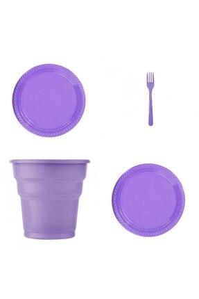 Mor Renk 25'li Plastik Bardak + Çatal + Tabak RKLNP-0073