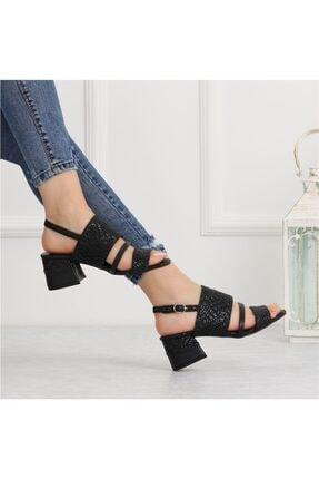 Dekap Siyah Hasır Kısa Topuklu Sandalet TX5C6823FC13624