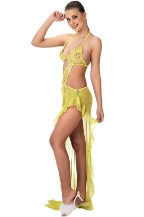 Sarı Gecelik Transparan Seksi Kadın Giyim 270631ML-5672SAR