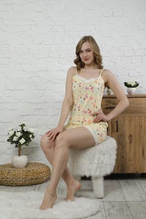 Pijama Home Desenli Askılı Pijama Takımı-Sarı JPVL31011