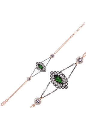 Gümüş Yeşil Taşlı Otantik Bayan Bileklik OUIS-G-BR0460469-SILVER