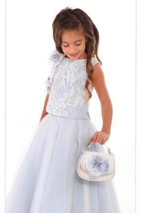 Mavi, Etek Ve Üst Takım, Omuzu Aksesuarlı Kız Çocuk Elbise M1938