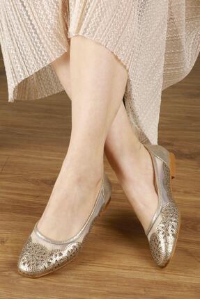 Kadın Altın Günlük Babet Ayakkabı Z-000001849