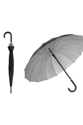 Otomatik Baston Şemsiye 16 Telli Dışı Siyah Içi Gümüş Renk,unisex Şemsiye 3333