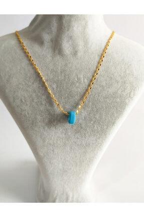 Gold Renk Mavi Boncuklu Kadın Kolye TY1201