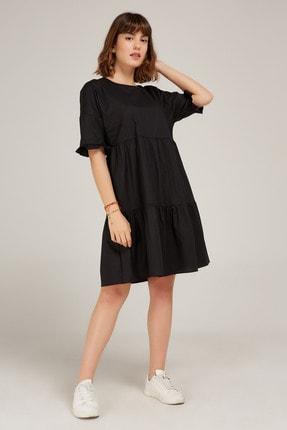 Kadın Siyah Rahat Kesim Poplin Elbise ED20EL0004SIYAH