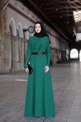 Kadın Ela Tesettür Elbise Zümrüt LBD77