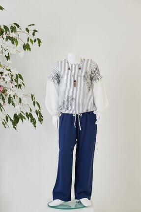 Kadın Lacivert Şifon Kollu Bluz Pantolon Takım Y20-519