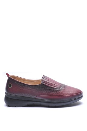 191560 Bordo Kadın Deri Comfort Ayakkabı BUL-191560