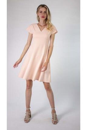 V Yakalı Pudra Kloş Elbise 5P516