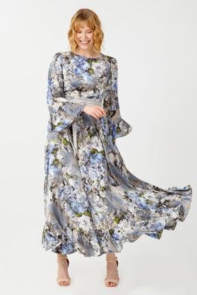 Desenli Volanlı Elbise 13797