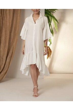 Kadın Beyaz Omuz Açık Elbise 2
