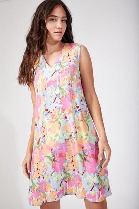 Kadın Koyu Pembe Çiçekli Yazlık Viskon Elbise DD00681