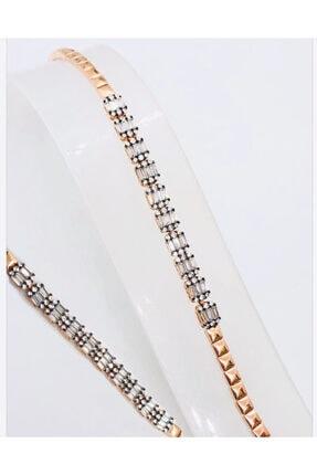 Kadın Rosegold  Baget Taşlı Gümüş Bileklik DGGMS-BGTBLKLK1