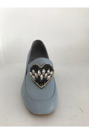 Kadın Deri Topuklu Ayakkabı taşlı mavi topuklu
