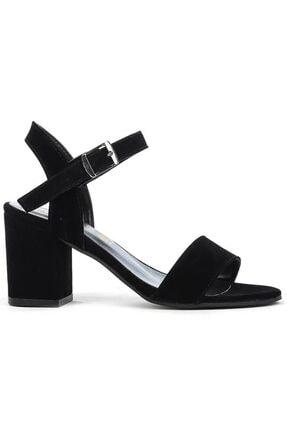 Kadın Siyah 047 Kalın Topuklu Sandalet Ayakkabı FOZ02111