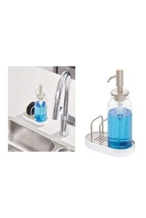 Süngerlik Bölmeli Akrilik Sıvı Sabunluk,beyaz Renkli 51615ES