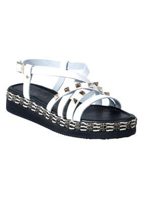 5007 Hakiki Deri Kadın Sandalet Beyaz 5007NHR-4