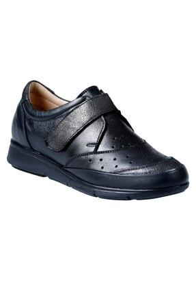 45011 Hakiki Deri Kadın Ayakkabı Siyah Garni 45011NHR-72