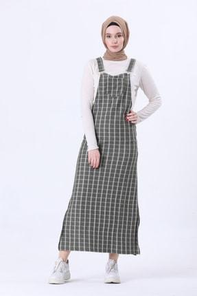 Kadın Yeşil Cepli Ekoseli Tesettür Salopet Elbise 1698 9PDY07169801