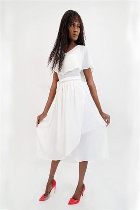 Kadın Beyaz Polin Fisko Elbise 20Y07AYRS004B