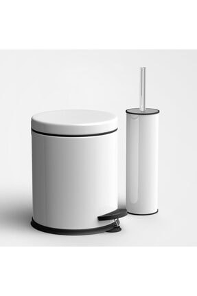 Beyaz Çöp Kovası Wc Fırça Set 2 Li Set 3 Lt PRA-1704108-4785