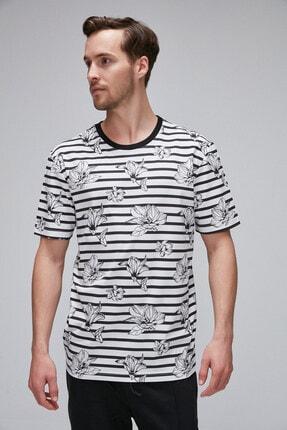BENTLEY Beyaz Pamuklu Yuvarlak Yakalı Çizgili Ve Cicekli Baskılı T-Shirt BENT08052020