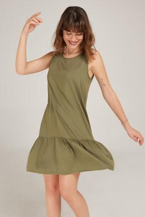 Kadın Haki Eteği Fırfırlı Kolsuz Viskon Elbise ED20EL0013HAKI